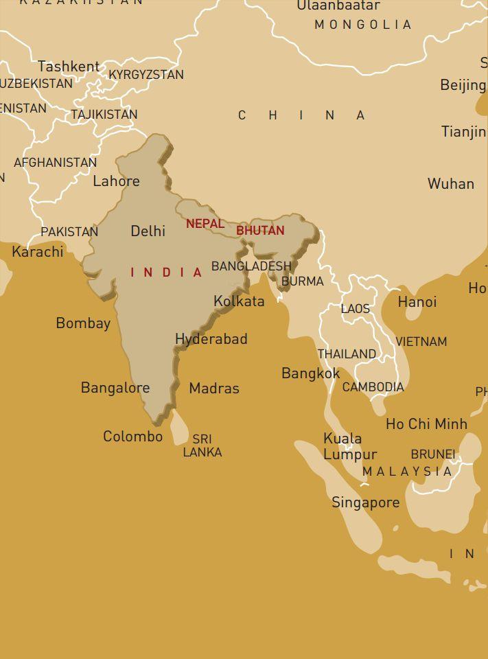 luxusreise-rundreise-indien-nepal-bhutan-karte