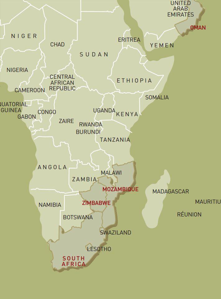 luxusreise-rundreise-oman-suedafrika-simbabwe-mosambik-karte