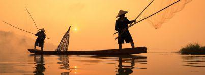 Fischer auf dem Mekong in Vietnam
