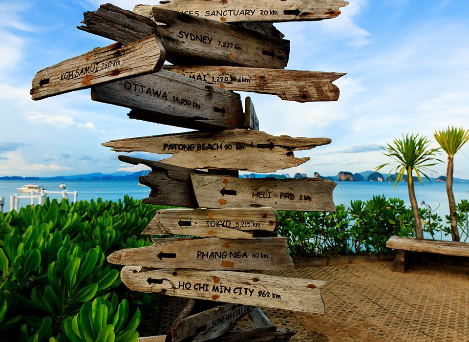 Sixs Senses Yao Noi - Thailand - Phang-Nga Bay - Wegweiser am Pier